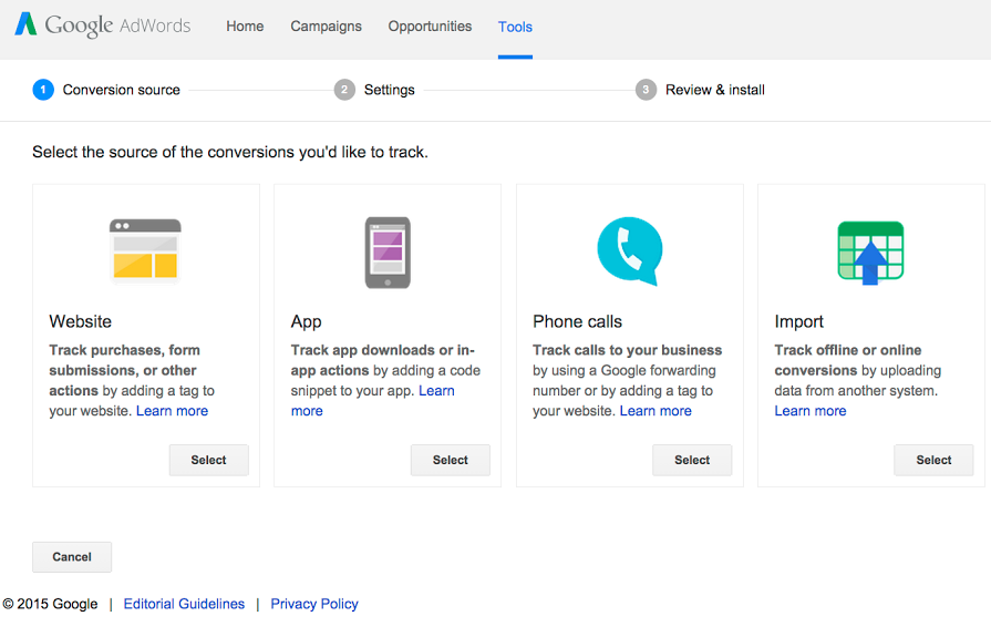Conversion Tracking through Adwords